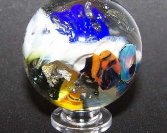 Lampwork Glass Marble, Seascape marble, Ocean Scene marble, Urchin Anenome Sealife marble