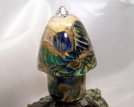 glass mushroom, glass sculpture, lampwork mushroom, artisan lampwork