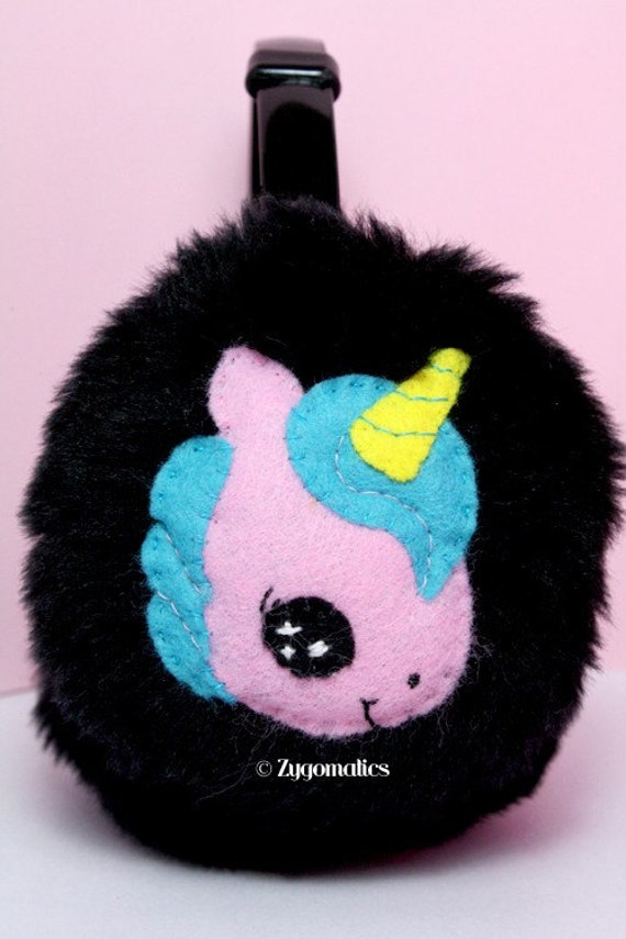 Sweet Winter Black Earmuffs Ear Warmers - Magical Unicorn - Pink and Cream