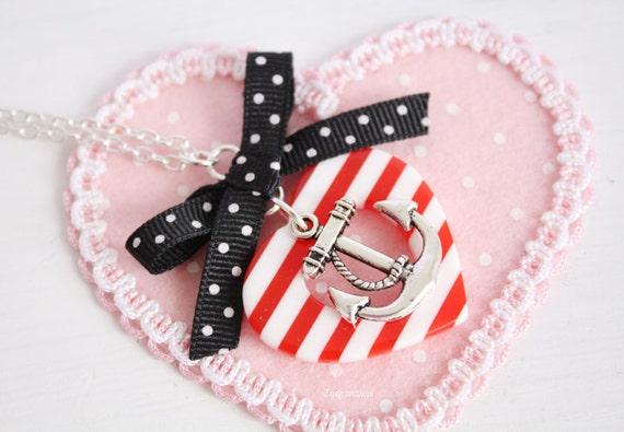 Sailor Striped Heart Anchor Long Necklace