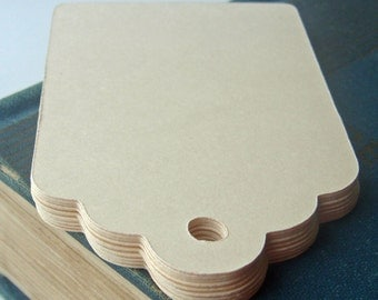 100 Large Ivory Cream Scallop Gift Tags Wedding Favor Tags