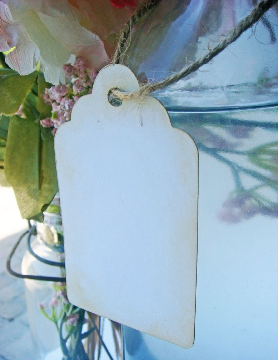 100 Large Aged Rustic White Wedding Gift Tags