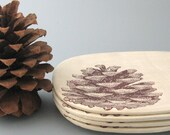 Pine Cone Snack Plates  - Set of 4 - Hand Built Stoneware Pottery