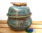 Lidded Jar with Twig Handle - Wheel Thrown Pottery - Stoneware