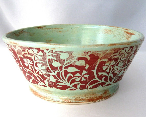 Green Vines Bowl - Hand Thrown Stoneware