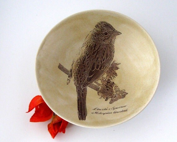Decorative Bowl  -  Lincoln's Sparrow - Hand Thrown Pottery