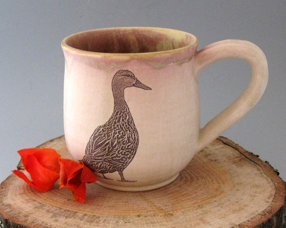 Stoneware Mug - Mottled Duck  -13 oz - Hand Thrown Stoneware