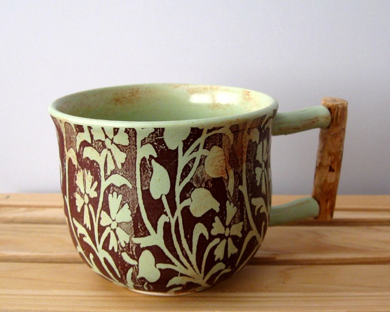 Mug with Ponderosa Pine Handle - 12 oz - Hand Thrown Ceramic Stoneware Pottery