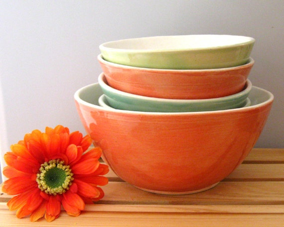 Serving Bowls Set of 5 Handmade Ceramic Stoneware Pottery