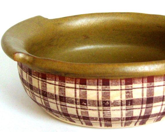 Plaid Mini Baker \/ Casserole - Wheel Thrown Stoneware
