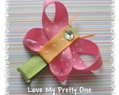 Pretty BUTTERFLY pink dippy dots NO SLIP hair clip