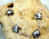 Custom Photo Bracelet with 4  Black Lip Mother of Pearl Charms wire-wrapped with Sterling Cable Chain