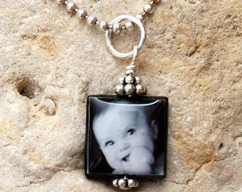 Small and Sweet Black Lip Mother of Pearl Custom Photo Charm on your choice of Sterling Chains