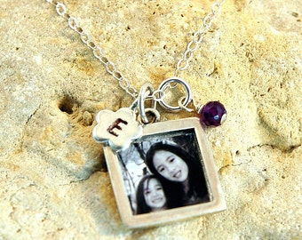 Heavy Square Sterling Photo Charm with Stamped Initial Flower Shaped Charm and Birthstone