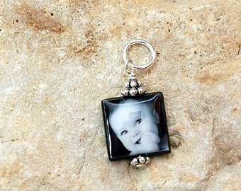 Small and Sweet Black Lip Mother of Pearl Custom Photo Charm