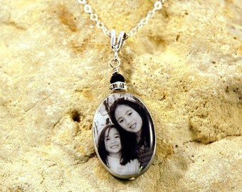 Large Oval Mother of Pearl Custom Double-sided Photo Necklace with Sterling Findings and Swarovski Rondell