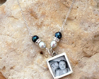 Sterling Silver Square Photo Necklace with Pearls and Swarovski crystals
