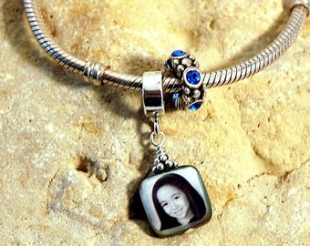 BESTSELLER - Small and Sweet Double-Sided Square Mother of Pearl Custom Photo Charm for European Style Charm Bracelet