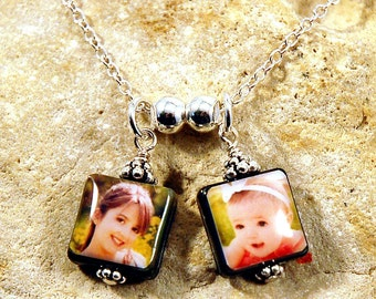 Double-Drop Black Lip Mother of Pearl Custom Photo Necklace