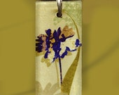 Wildflower Necklace in Cobalt Blue and Tans - GeoForms Reversible Art Necklaces