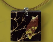 Owl Glass Necklace - GeoForms - Reversible Glass Art Necklaces - What a Hoot. . . Owl