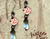 Vintage Paris Fashion -A Sea Spell Earrings- Peach Pink Lily Crystal