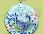 Peacock Necklace - Reversible Glass Art Necklaces -GeoForms Vintage- - Asian Peacock Floral Fantasia