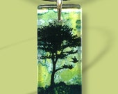 Spring Green Tree  Necklace -  Two Sided Glass Art - GeoForms Glass