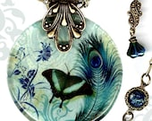Peacock Butterfly Glass Jewelry- Reversible Necklace- Voyageur - The Alhambra Collection