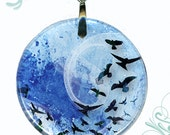 Free Bird Necklace Reversible Glass Art  - AquaForms Collection