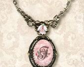 CUSTOM Initial Necklace- Vintage Paris Fashion - Rococo a la Rose Letter Frame