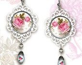 Shabby Chic  Rose Earrings - Botanicalz - Shabby Chic Collection -  Soft Pink Rose
