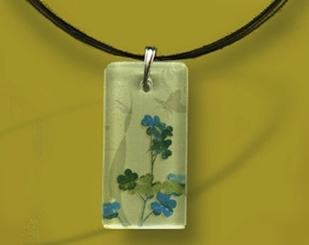 Lucky Clover Glass Tile Necklace - Reversible Glass Art - GeoForms-- Sage Turquoise Clover