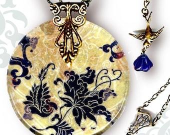 Blue Jacobean Paisley Necklace - Voyageur - The Alhambra Collection