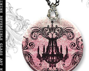 Chandelier Chic Necklace - S.T.R.E.E.T.Z Shimmerz Collection-  Reversible Glass Art