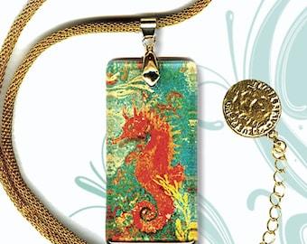 Treasure Seahorse Necklace - AquaForms SHIMMERZ - Reversible Prima Glass Art
