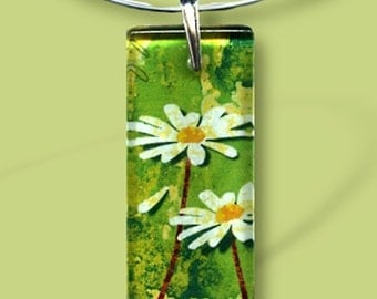 Daisy Necklace -  Reversible Glass Art - Geoform Collection - He loves me, he love me. . . Spring Daisies