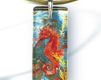 Seahorse Necklace - Reversible Glass Art - AquaForms-- Coral Reef Seahorse