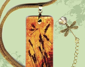 Prairie Grass Dragonfly Necklace  - Reversible Glass Art  - GeoForms SHIMMERZ - Prairie Sunrise