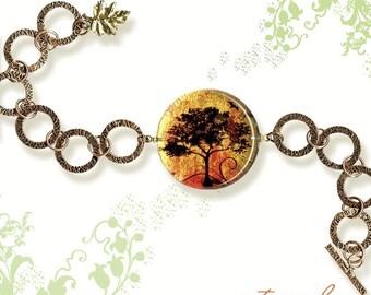 Autumn Tree Bracelet - GeoForms SHIMMERZ - Reversible Prima Glass Art bracelet - AUTUMN GLOW