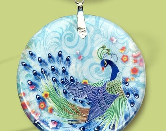 Peacock Necklace - Reversible Glass Art Necklaces -GeoForms Vintage- - Asian Peacock Floral Fantasia
