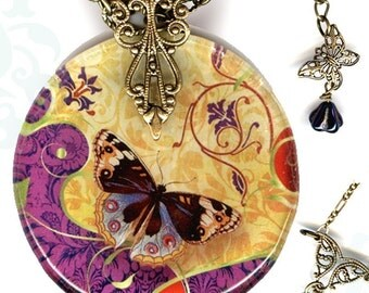Royal Butterfly Glass Necklace - Reversible  - Voyageur -  The Alhambra Collection  Arabesque Butterfleur Royale