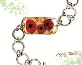 Geoform Riverstone - Reversible Glass Art Bracelet - Red Poppies