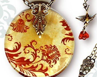 Red Paisley Necklace - Revervisble Glass Art - Voyageur - The Alhambra Collection - Red Jacobean Paisley
