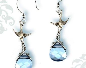 Blue Sky Silver Swallow Dangle Earrings - Victorian Garden Collection-
