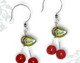 Red Cherry Drop Earrings - Geoforms- So Very Cherry Earrings