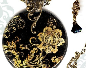 Ebony Elegance Necklace - Voyageur SHIMMERZ - The Alhambra Collection - Metallic Gold Jacobean Paisley
