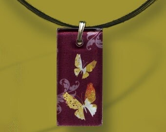 Burgundy  Fushia Butterfly Neckace  - GeoForms-Reversible Glass Art