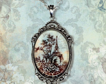 Paris Necklace - Vintage Paris Fashion - French Blue Glass Parisian Scenic Toile