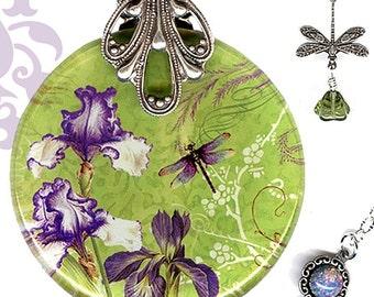 Iris Dragonfly Necklace - Reversible Glass Art - Lime Green Purple Jewelry - Iris Necklace - Nouveau Jardin -  Nouveau Plum Iris Garden
